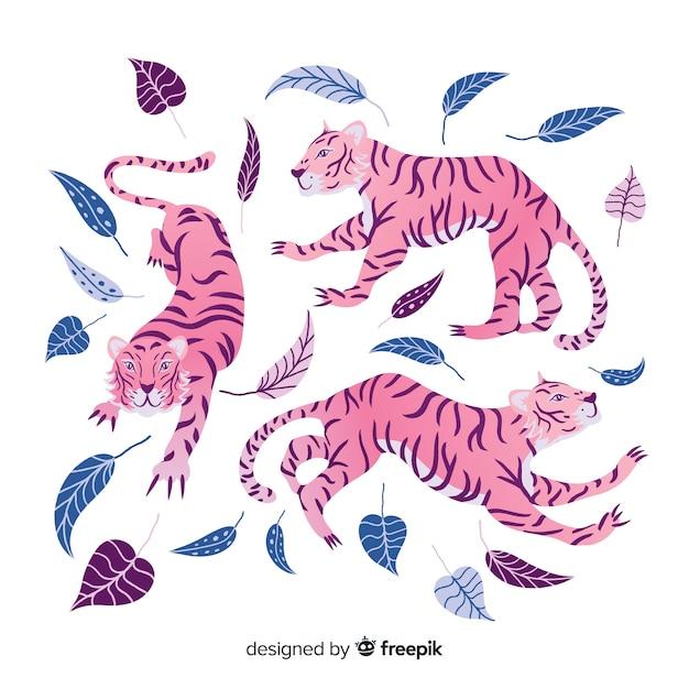 Pack van hand getrokken tijgers Gratis Vector