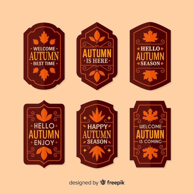 Pack van herfst etiketten plat ontwerp Gratis Vector