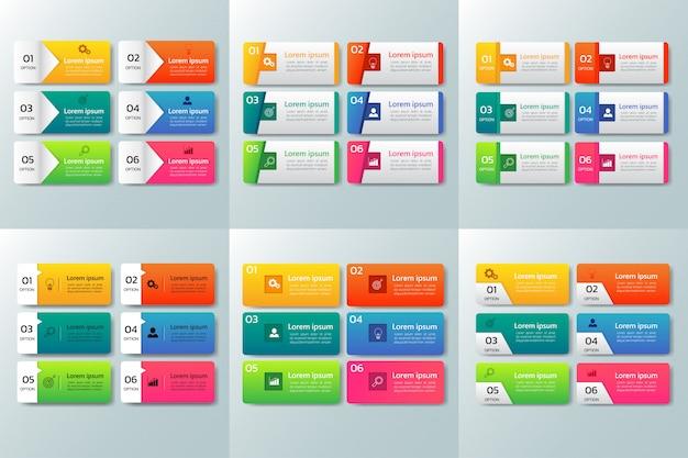 Pack van infographic ontwerpsjabloon Premium Vector
