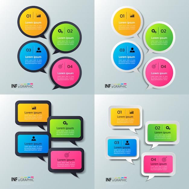 Pack van infographics met spraak bubbels ontwerp. Premium Vector