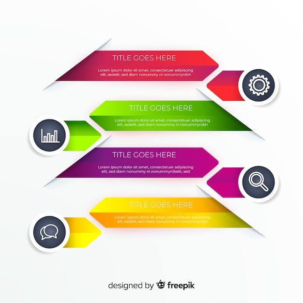 Pack van kleurrijke infographic platte ontwerp Gratis Vector