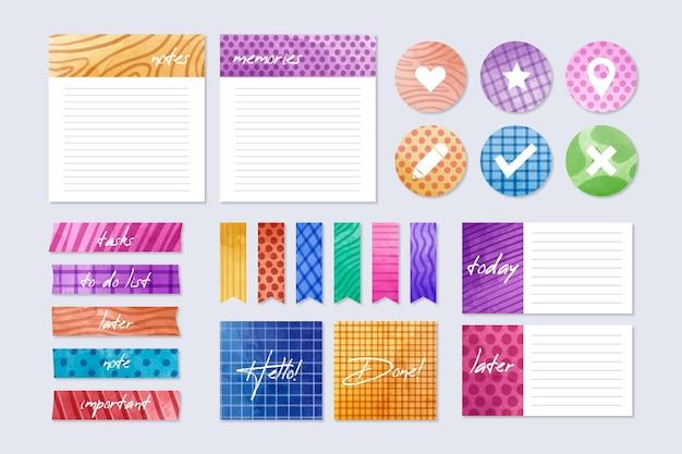 Pack van kleurrijke planningsplakboekelementen Gratis Vector