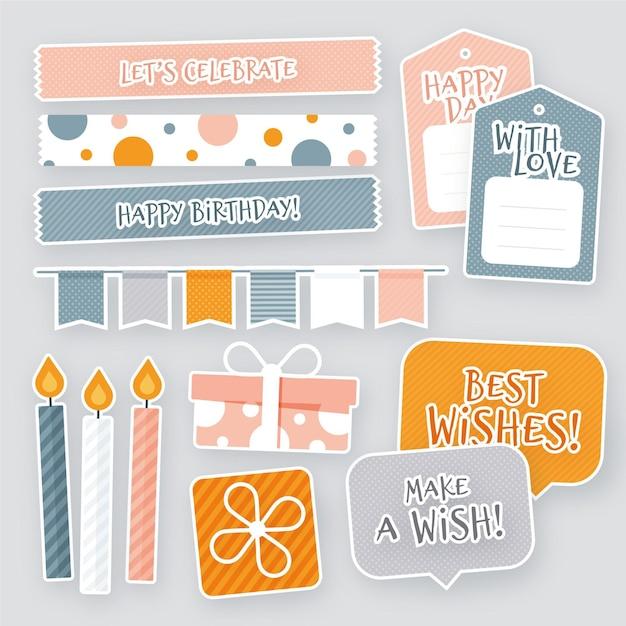 Pack van kleurrijke verjaardag plakboek Gratis Vector