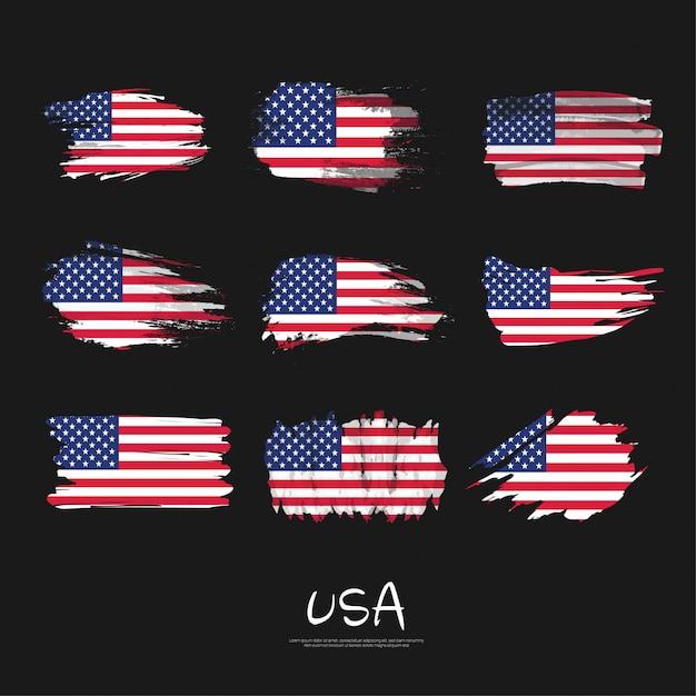 Pack van usa vlag met penseelstreek. Premium Vector
