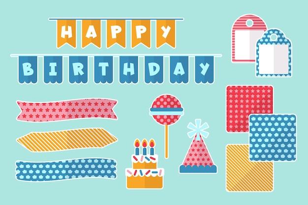 Pack van verjaardag decoratieve plakboekelementen Gratis Vector