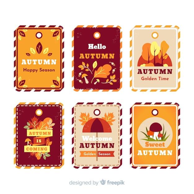 Pack van vintage herfst labels Gratis Vector