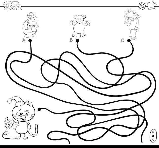 Kleurplaten Kerst Doolhof.Pad Doolhof Spel Kleurplaat Premium Vector