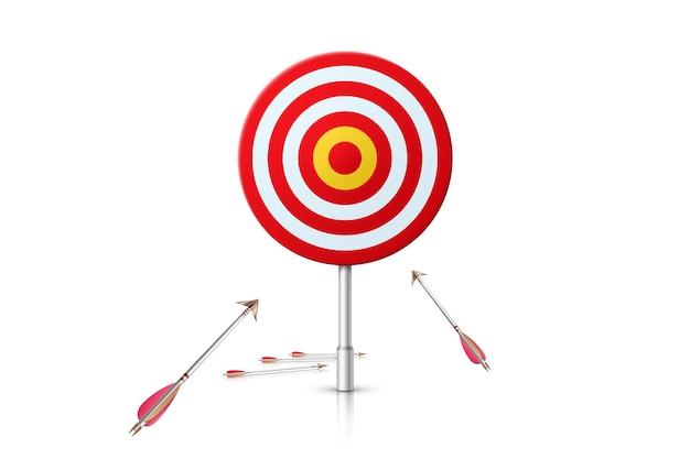 Pad naar succes. realistisch doel en pijlen op witte achtergrond. illustratie. Premium Vector