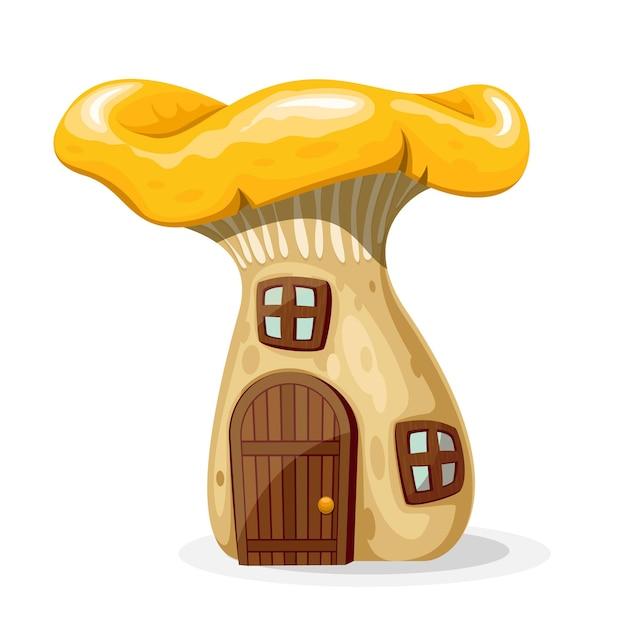 Paddestoelenhuis met deur en ramen. fairytale huis geïsoleerd op een witte achtergrond. illustratie Gratis Vector