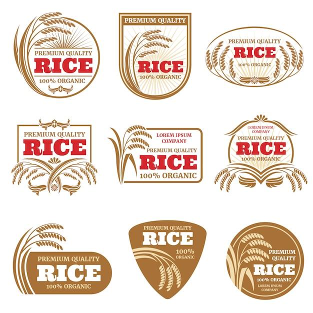 Paddy rijst vector labels. Premium Vector