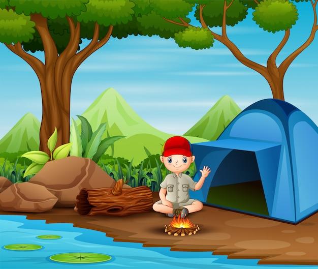Padvinderszitting bij het kamperen plaats Premium Vector
