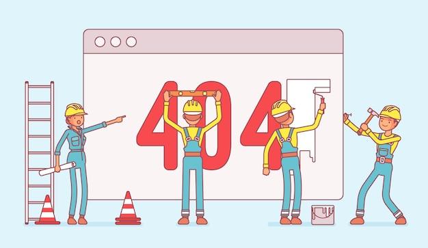Pagina met 404-code in aanbouw Premium Vector