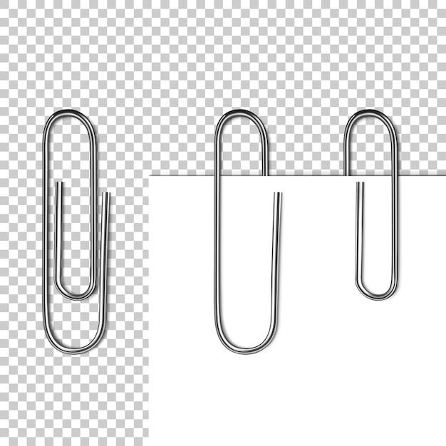 Pagina papier op clip illustratie van 3d-realistische metalen clip met lege memo of witte notitie blad Gratis Vector
