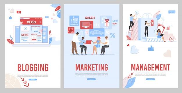 Pagina voor mobiel bloggen, marketing en beheer Premium Vector