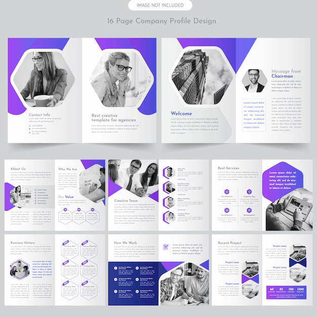 Paginabedrijfsprofiel brochure Premium Vector