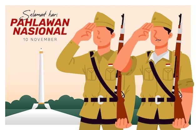 Pahlawan heldendag achtergrond met soldaten Gratis Vector