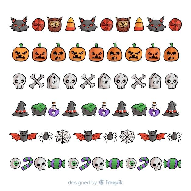 Pak decoratieve halloween-grenzen ter beschikking getrokken stijl Gratis Vector