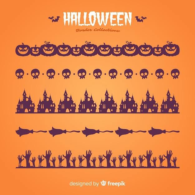 Pak decoratieve halloween randen in platte ontwerp Gratis Vector