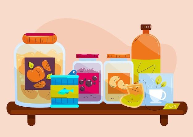 Pak getekende pantry met verschillende soorten voedsel Gratis Vector