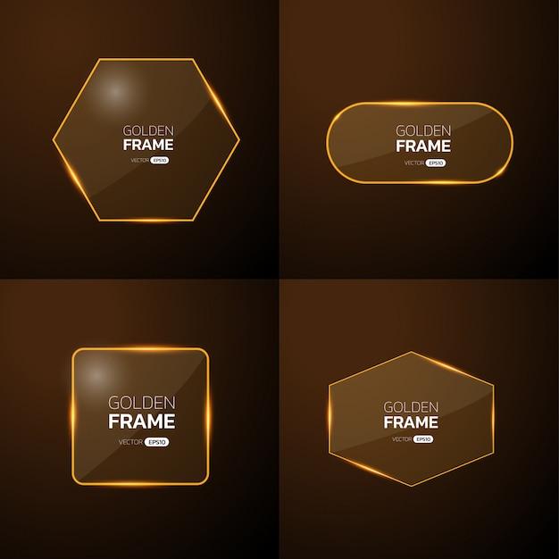 Pak gouden frame met lichteffect. Premium Vector