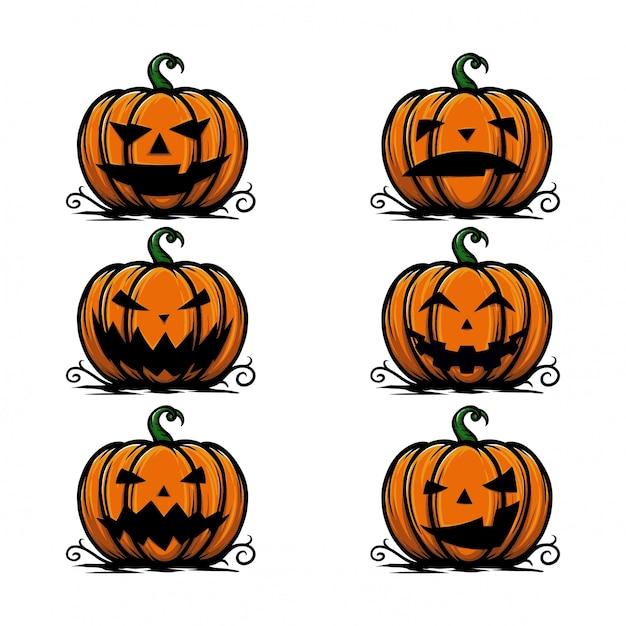Pak halloween-pompoenlantaarn met vele uitdrukking Premium Vector