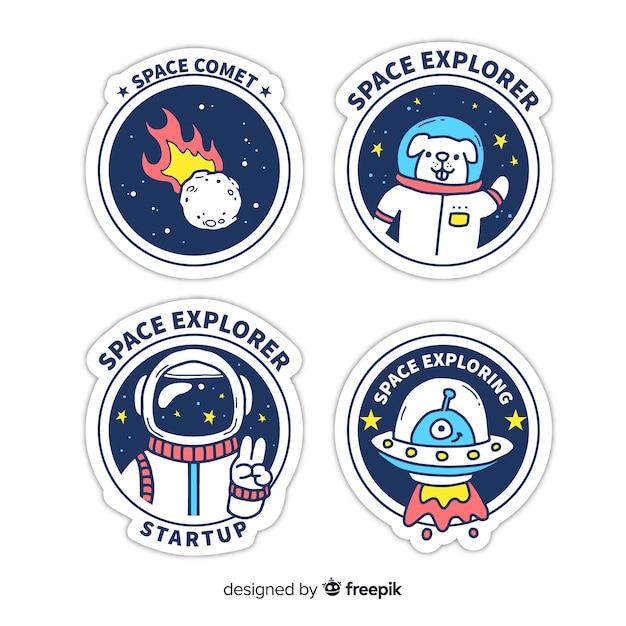 Pak hand getrokken ruimtestickers Gratis Vector