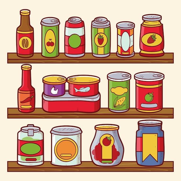 Pak handgetekende pantry met verschillende soorten voedsel Premium Vector