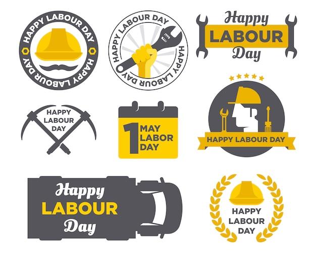 Pak happy labour day logo badge design achtergrond Premium Vector