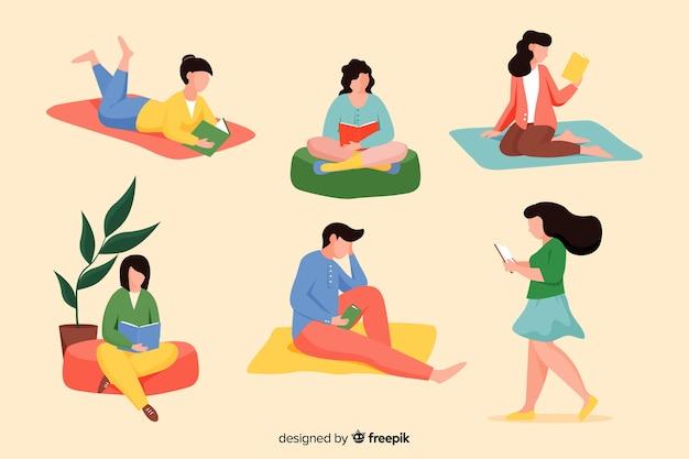 Pak jongeren die boeken lezen Gratis Vector
