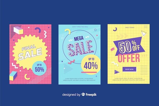 Pak kleurrijke banners van memphisverkoop Gratis Vector