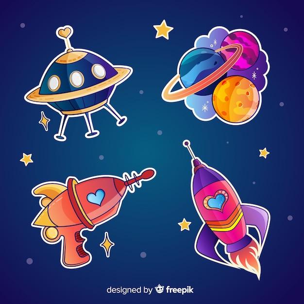 Pak leuke geïllustreerde ruimtestickers Gratis Vector