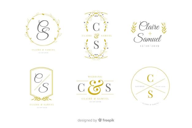 Pak logo's van het huwelijksmonogram Gratis Vector