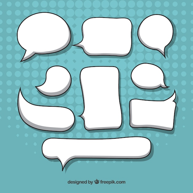 Pak met handgetekende spraakbellen Gratis Vector