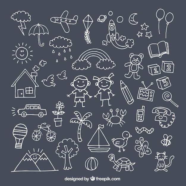 Pak met leuke tekeningen voor de dag van de kinderen Gratis Vector