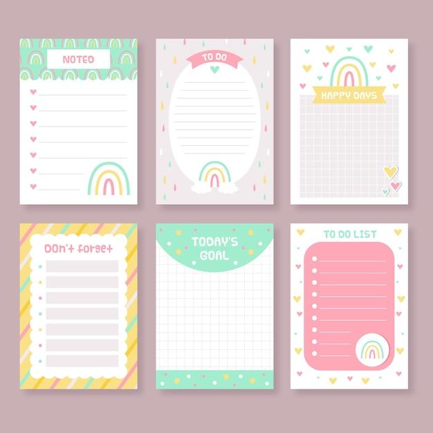 Pak met plakboeknotities en kaarten Gratis Vector
