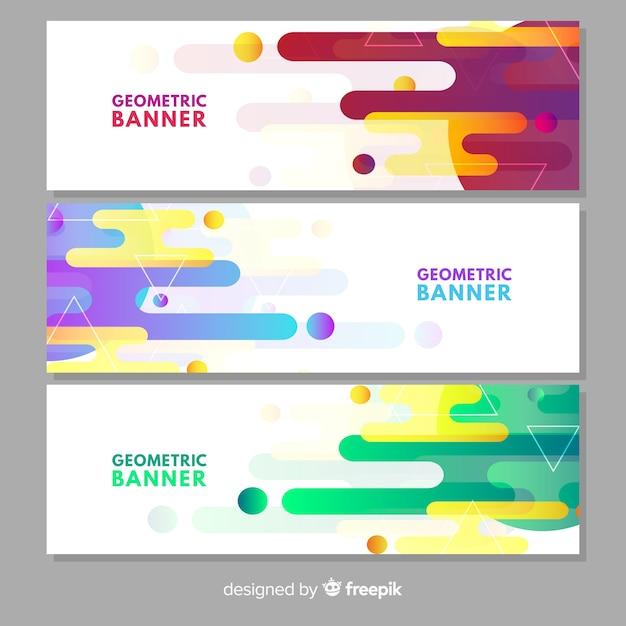 Pak moderne banners met geometrisch ontwerp Gratis Vector