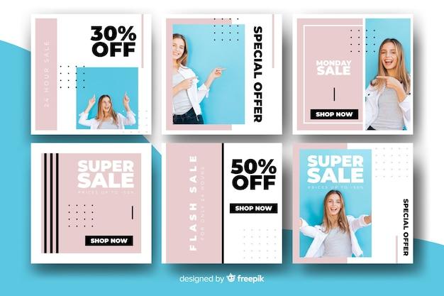 Pak moderne verkoopbanners voor sociale media Gratis Vector