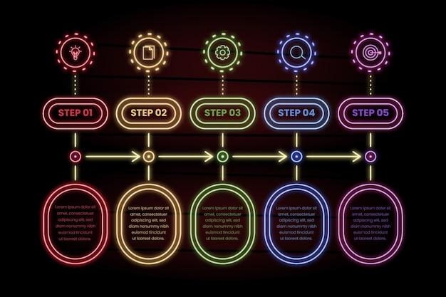 Pak neon infographic stappen Gratis Vector