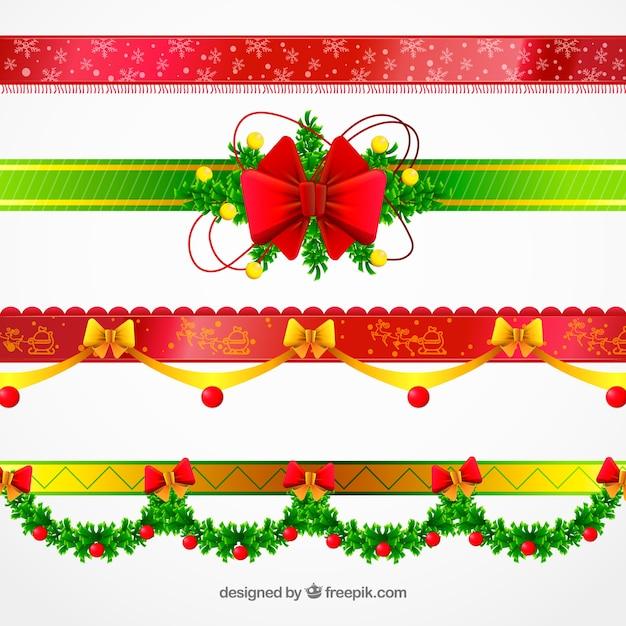 Pak prachtige decoratieve kerst randen Gratis Vector