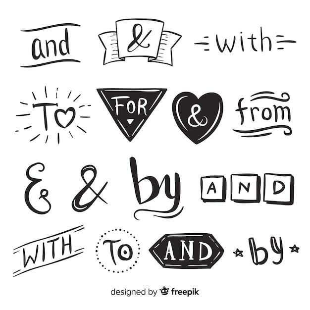 Pak schattig hand getrokken bruiloft steekwoord Gratis Vector