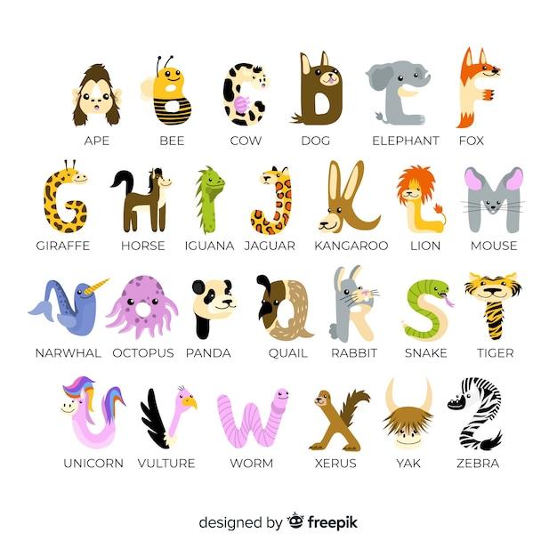 Pak schattige letters gemaakt van schattige dieren Gratis Vector