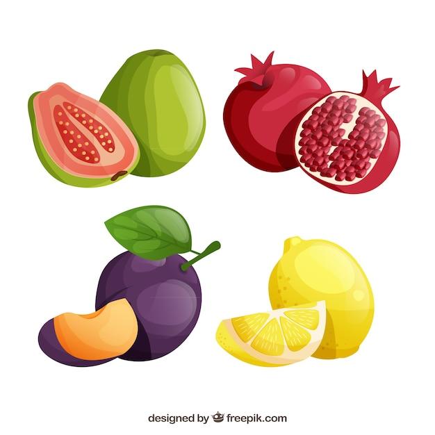 Pak smakelijke vruchten in realistisch ontwerp Gratis Vector