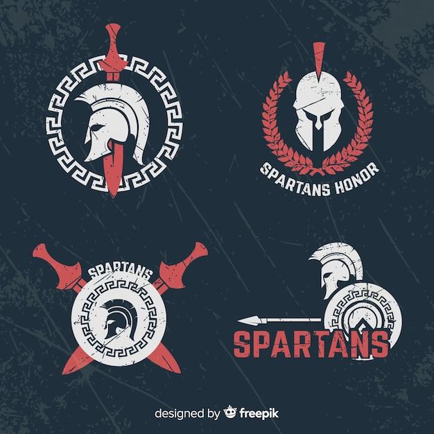 Pak spartaanse badges Premium Vector