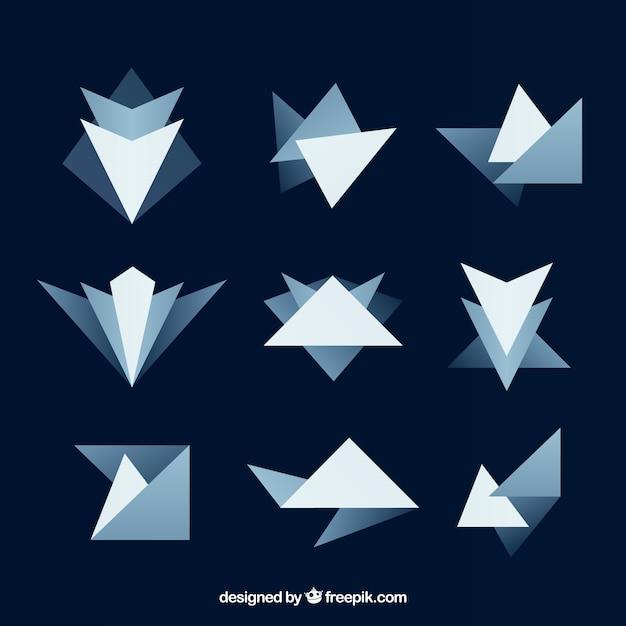 Pak van abstracte figuren in blauwe tonen Gratis Vector