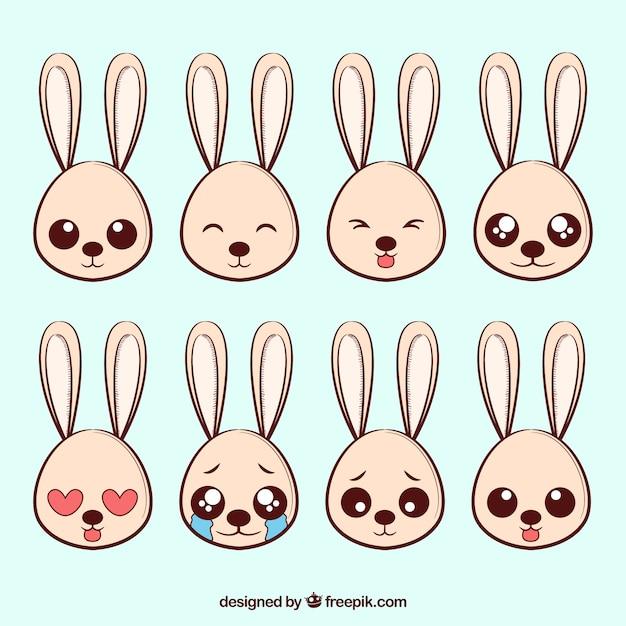 Pak van acht konijn emoticons Gratis Vector