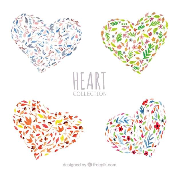 Pak van aquarel bloemen harten Gratis Vector