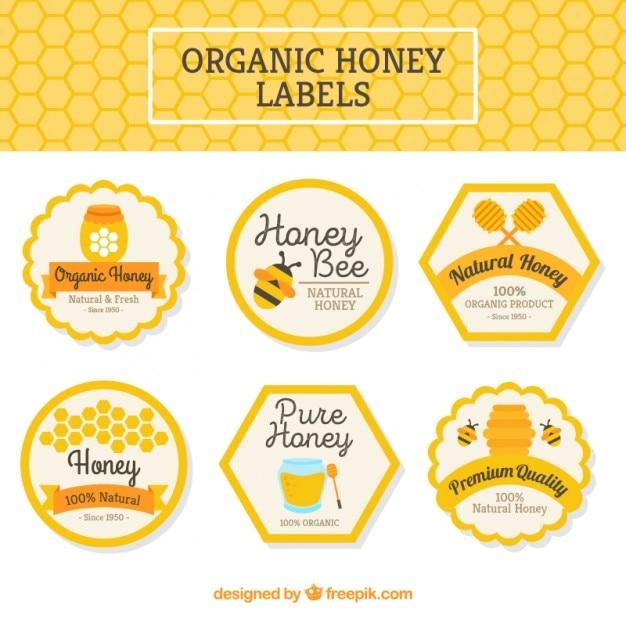 Pak van biologische honing labels Gratis Vector