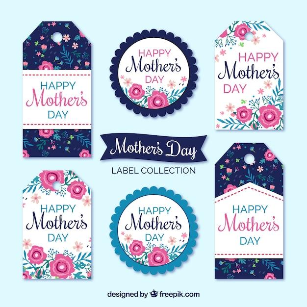 Pak van de dag labels moeder met gekleurde bloemen Gratis Vector