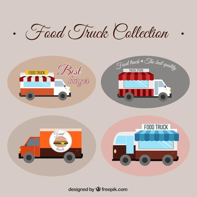 Pak van de hand getekende voedsel trucks Premium Vector