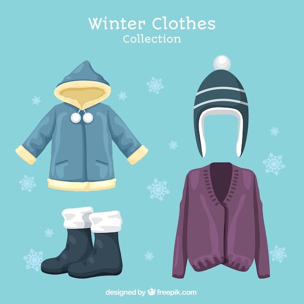 Pak van de hoed en de winter elementen Gratis Vector